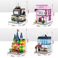 Hot City Mini Street View Building Block With Light Pet SPA Shop Toyshop Jewelry Store Bricks