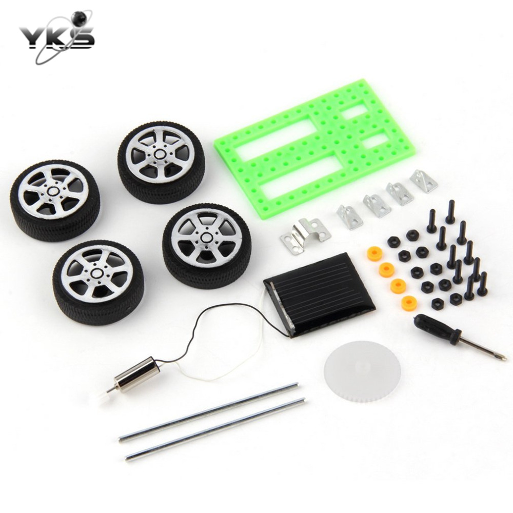 YKS 1pc Mini Solar Powered Toy DIY Car Kit Educational Toy Gadget Hobby Funny Model Assemble Toys for Children Gift Drop Ship
