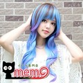 HARAJUKU brown blue purple mix culy peacock tail roll high temperature wire cosplay costume wig