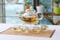 600ml Heat resistant glass teapot with a package of flowers and flower tea filter Kung Fu Tea Gift Set tea pot+4 teacups