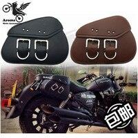 mini moto bag retro cafe black universal motorbike luggage bag for Kawasaki honda suzuki harley prince motorcycle Saddle Bags