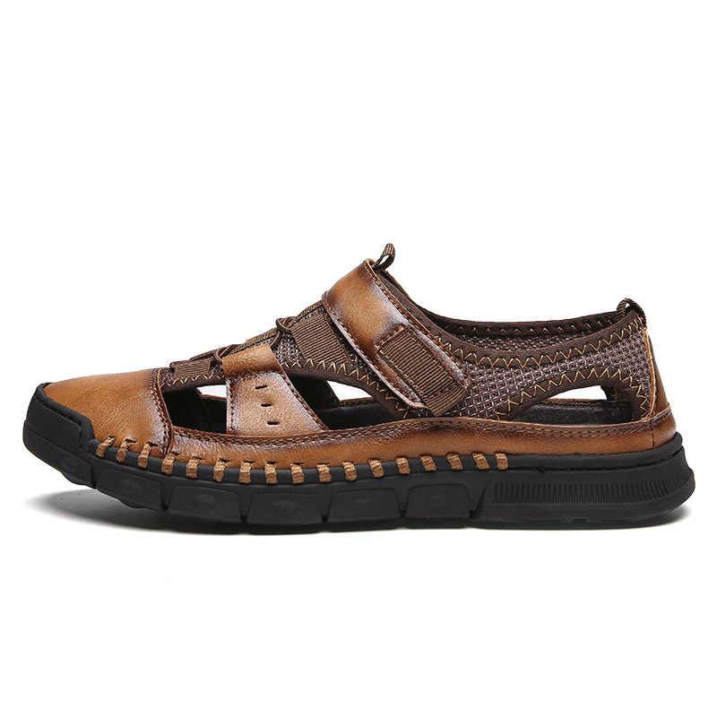 2019 รองเท้าแตะชายใหม่ของแท้หนัง Cowhide ชายรองเท้าแตะฤดูร้อนคุณภาพสูงรองเท้าแตะลำลองรองเท้าผ้าใบรองเท้าชายหาดกลางแจ้ง
