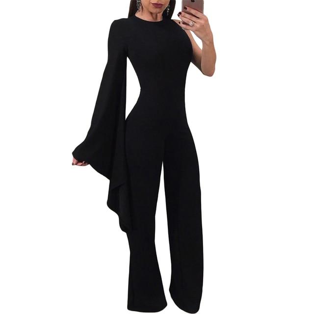 a1954d7d5412 2018 New Autumn Winter Black Wide Leg Long Bell Sleeve Jumpsuit Ruffle Sexy  Women Long Pants Overalls Formal Jumpsuit
