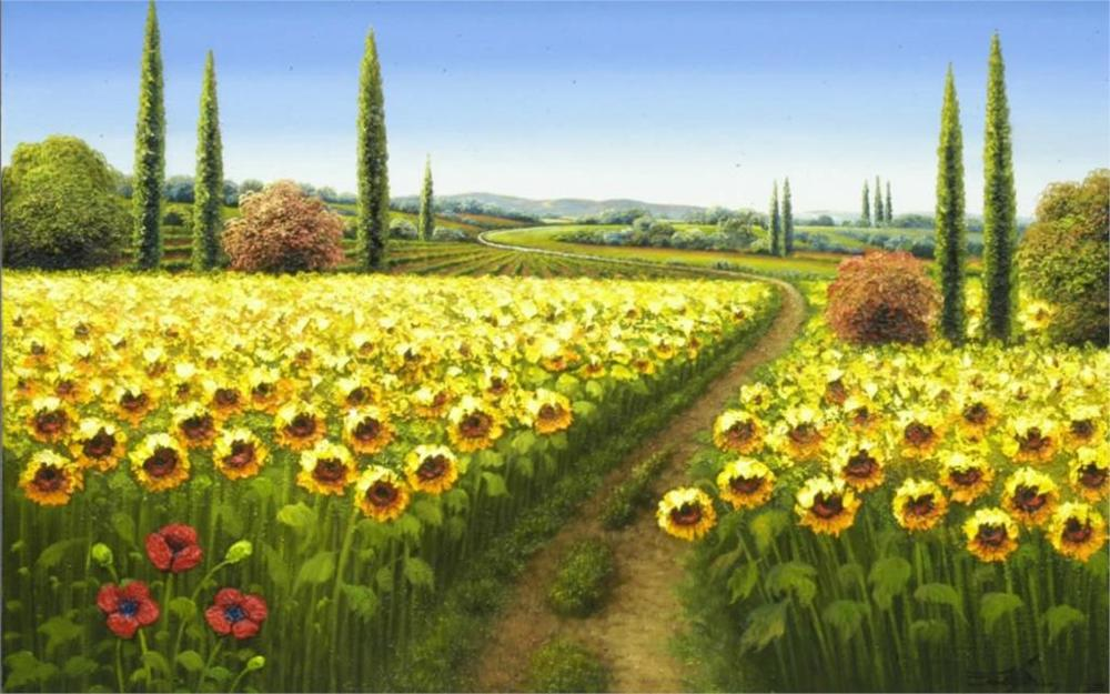 2017 Special Offer Real Rectangle Modern Nature Landscape Sun Field Painting 4 Sizes Home Decoration Canvas Poster Print