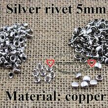 200 шт 5 мм Серебряная медная заклепка Кнопка швейная одежда аксессуары Сумка подходит 001-MR