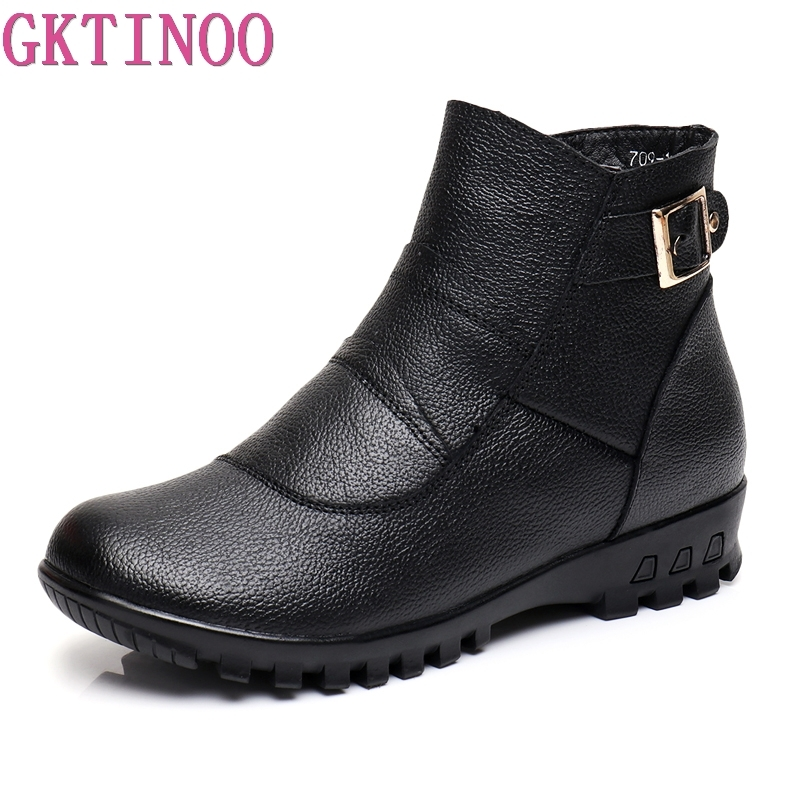 2018 Fashion Winter Boots Women Genuine Leather Flat Ankle Warm Boots Woman Snow Comfortable Plus Size Boots Women Shoes2018 Fashion Winter Boots Women Genuine Leather Flat Ankle Warm Boots Woman Snow Comfortable Plus Size Boots Women Shoes
