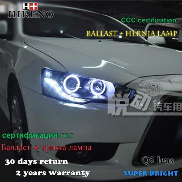 Hireno Headlamp for 2009-2013 Mitsubishi Lancer Headlight Assembly LED DRL Angel Lens Double Beam HID Xenon 2pcs hireno headlamp for 2008 2012 subaru forester headlight assembly led drl angel lens double beam hid xenon 2pcs