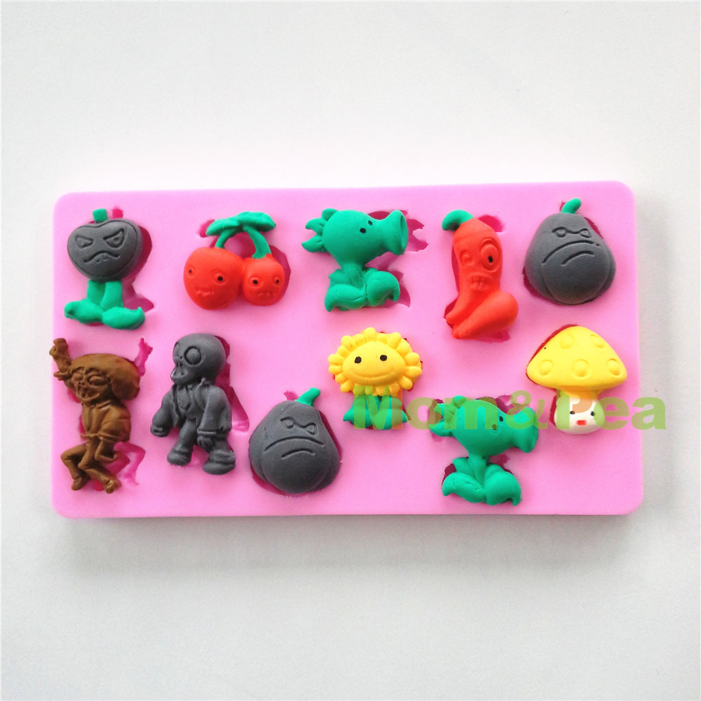 Mom&Pea <font><b>0562</b></font> Free Shipping Cartoon PVZ Shaped Silicone Mold Cake Decoration Fondant Cake 3D Mold image