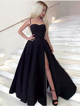 Verngo Classic Black Stain Evening Dress Side Slit Dress Party Simple Long Dress Vestidos Elegantes недорго, оригинальная цена