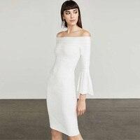High Quality Women White Black Bandage Dress 2018 Elegant Slash Neck Long Sleeve Bodycon Cocktail Party Dress Vestidos Wholesale