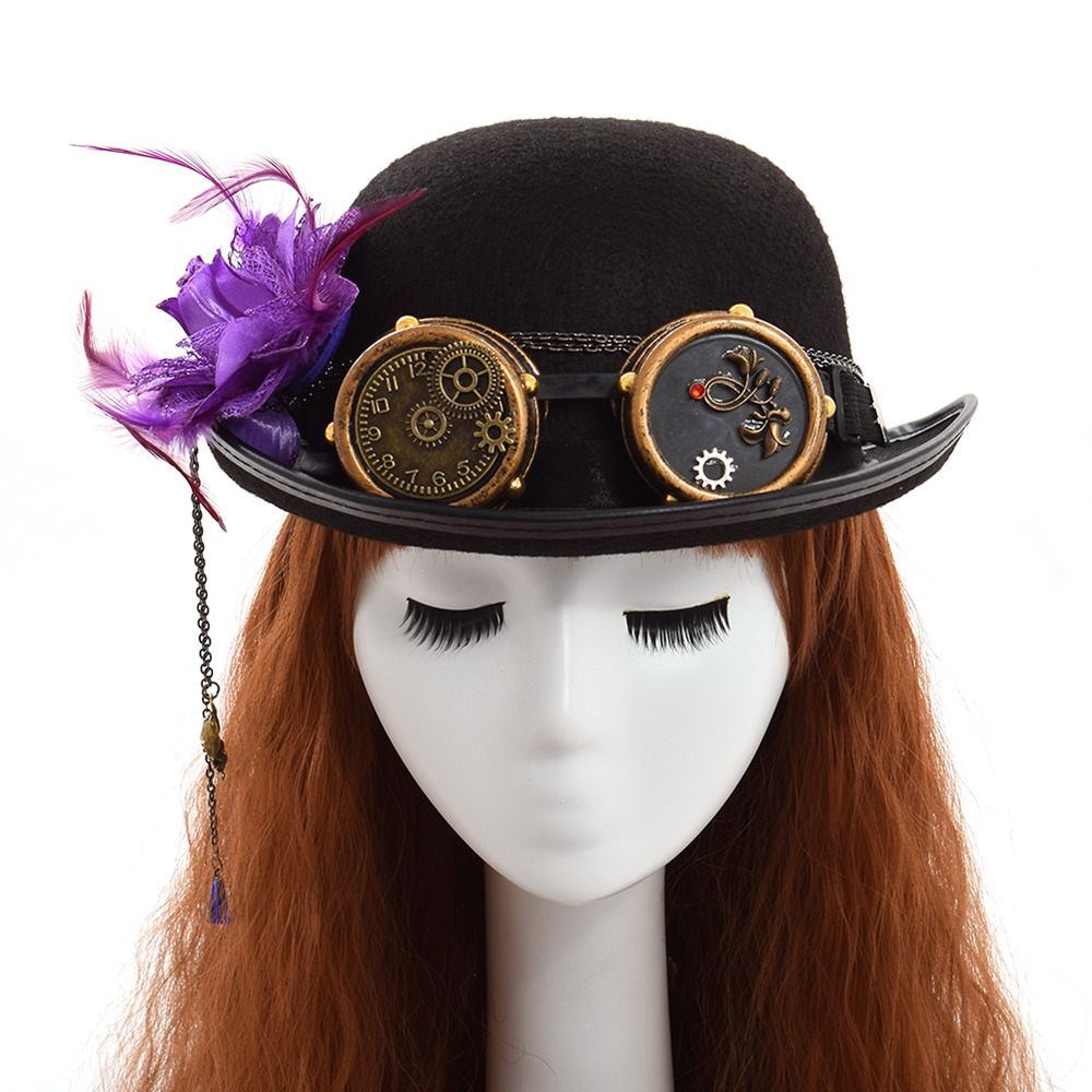 handmade black steampunk hat with flower