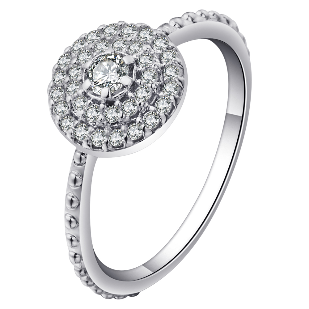 Beautiful White Full Cubic Zirconia Cz Wedding Rings For Women Silver Color  Unique Female Engagement Rings