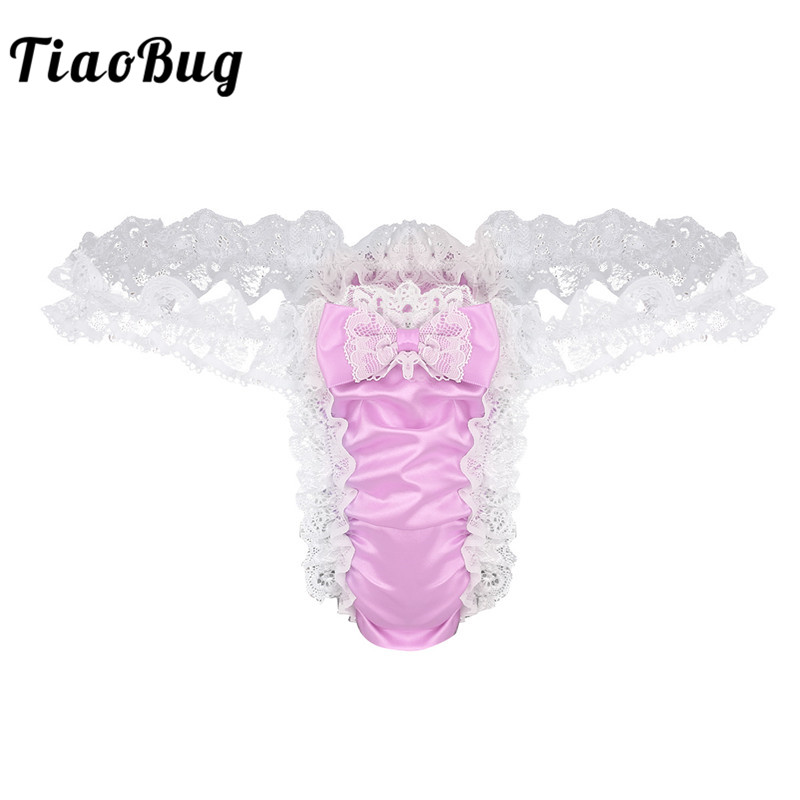 41f0891d4206 TiaoBug Men Soft Shiny Satin Ruffled Floral Lace Frilly Tanga Underwear Sexy  Gay G-string Thong Jacquard Underwear Underpants