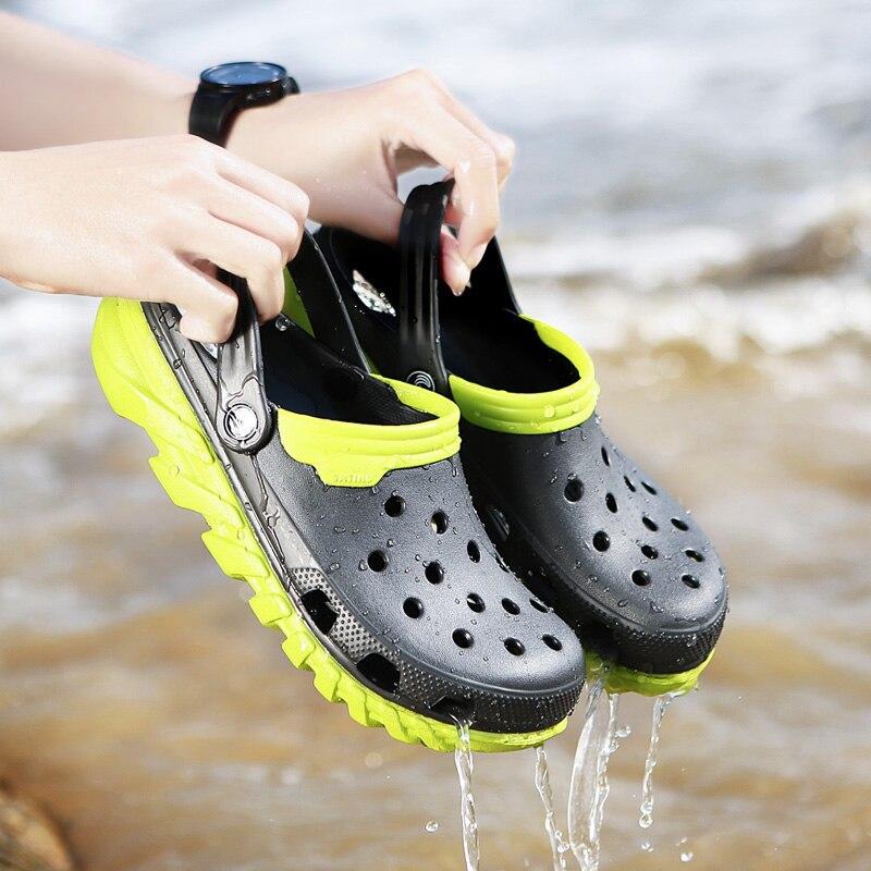 01893cd7890 2019 mens Band Sandals Summer Beach Swimming Shoes male High Quality Croc  Men Casual Aqua Clogs Brand shoes Big Size 38-46