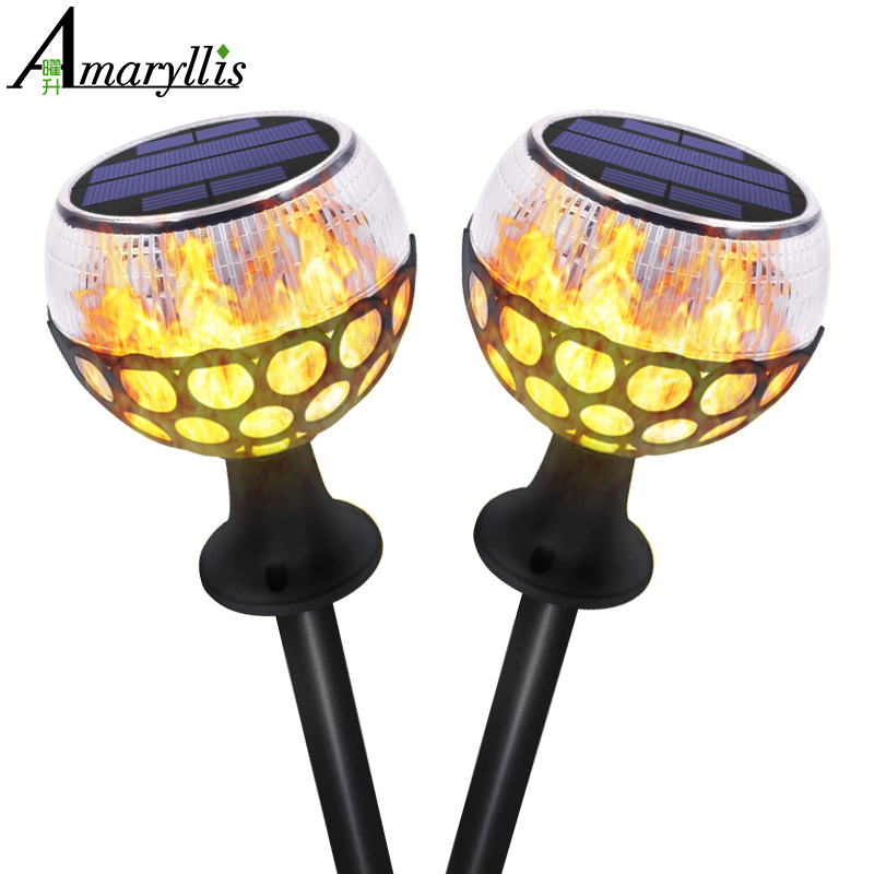 Porch Light Flickers When Off: Solar Torch Lights Dancing Flame Lighting 96 LED