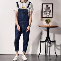 Estilo japonês De Algodão Mens Jeans Jardineira Macacão Moda Azul Magro Fit Homens Uma Peça Jeans Macacão Jeans Macacão Calças Compridas XXL