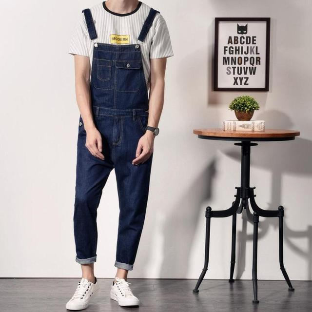 8d70b436030 Japanese Style Mens Cotton Jeans Bib Overalls Fashion Blue Slim Fit Denim Overalls  Men One Piece Denim Jumpsuit Long Pants XXL