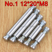 200PCS 12mm*20mm*M8 Stainless Steel Double Head Hollow Standoffs Pin Nails Screw Acrylic Advertisement Fixing Screws Glass