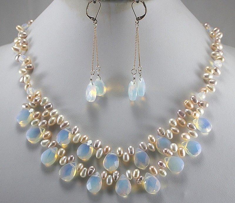 купить Hot sale Big Sale! Fashion Light Blue Fire Opal and Fresh Water Pearl Necklace Set онлайн