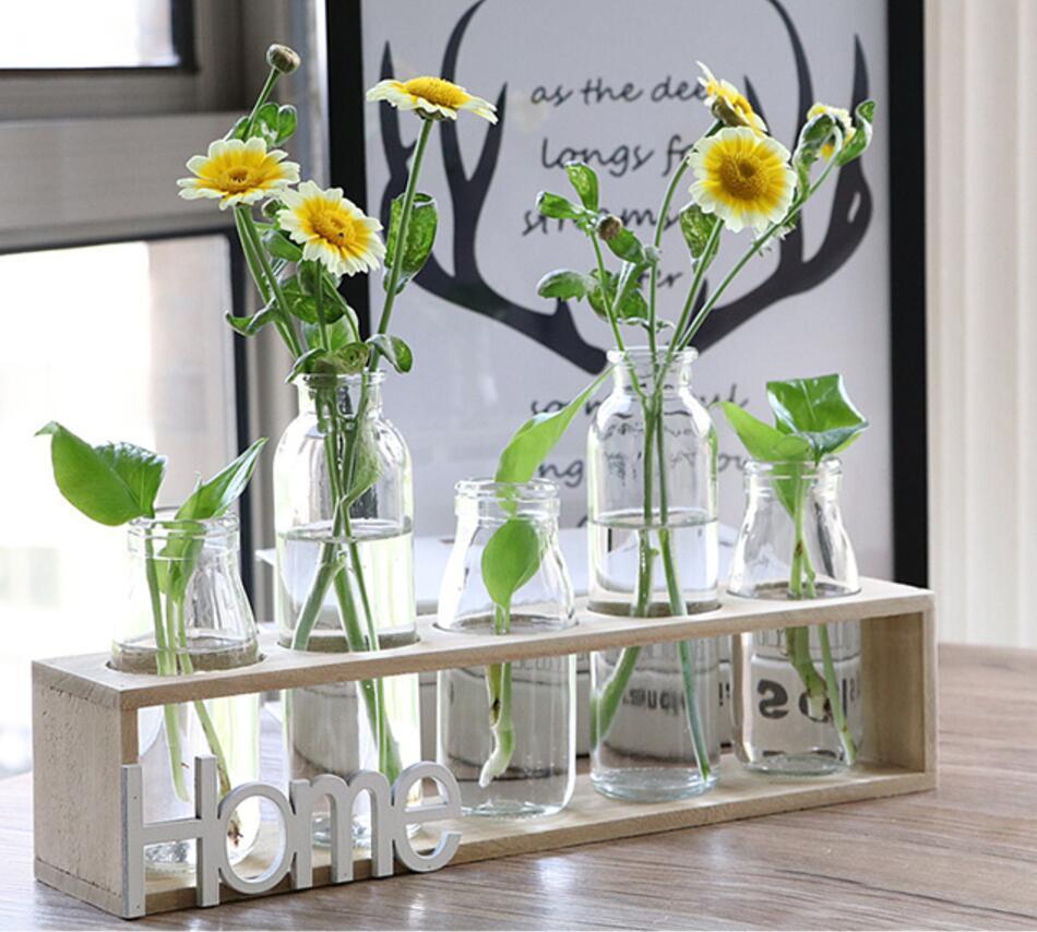 Table 5 pièces verre Vase eau plante conteneurs verre plante Terrariums Pots de fleurs avec support en bois