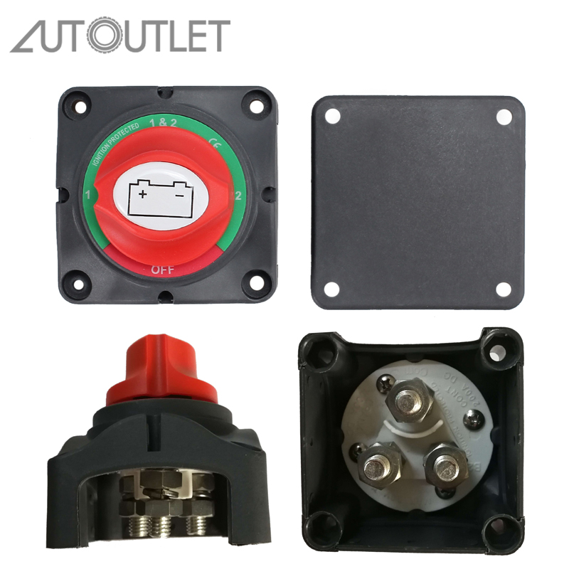 AUTOUTLET Dual Battery Isolator Marine Switch 4 Position 300 Amp 12V Battery Switch For Boat Marine Caravan Dual System Isolator