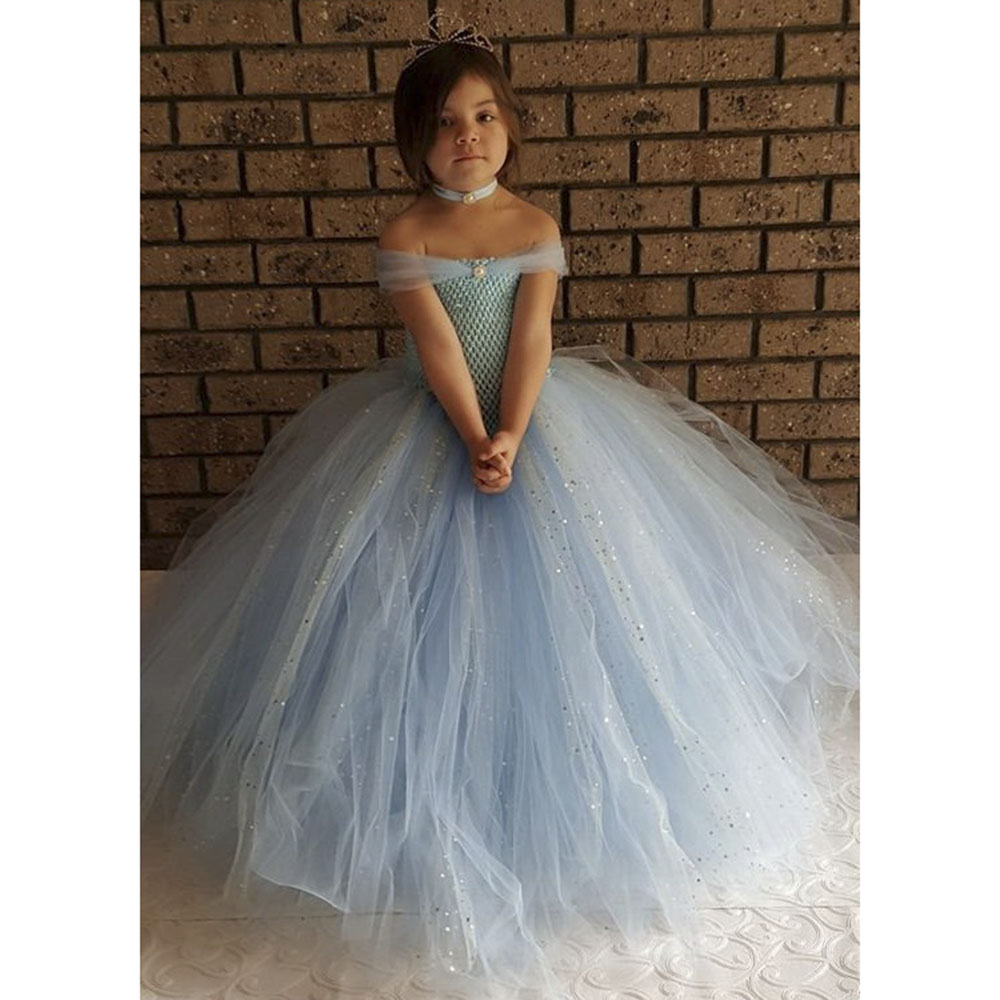 Light Blue V-Neck Princess Birthday Party Tutu Dress Girls Stunning Glittery Sparkle Inspired Tutu Dresses For Wedding Photos baltic blue sparkle