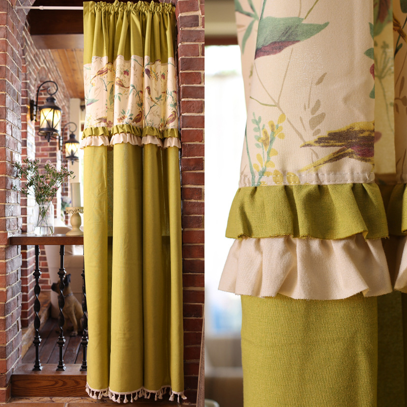 American Rural Style Half-curtain Colored Flowers and Birds Pattern Valance Curtain Yellow Linen Cotton Kitchen Door CurtainAmerican Rural Style Half-curtain Colored Flowers and Birds Pattern Valance Curtain Yellow Linen Cotton Kitchen Door Curtain