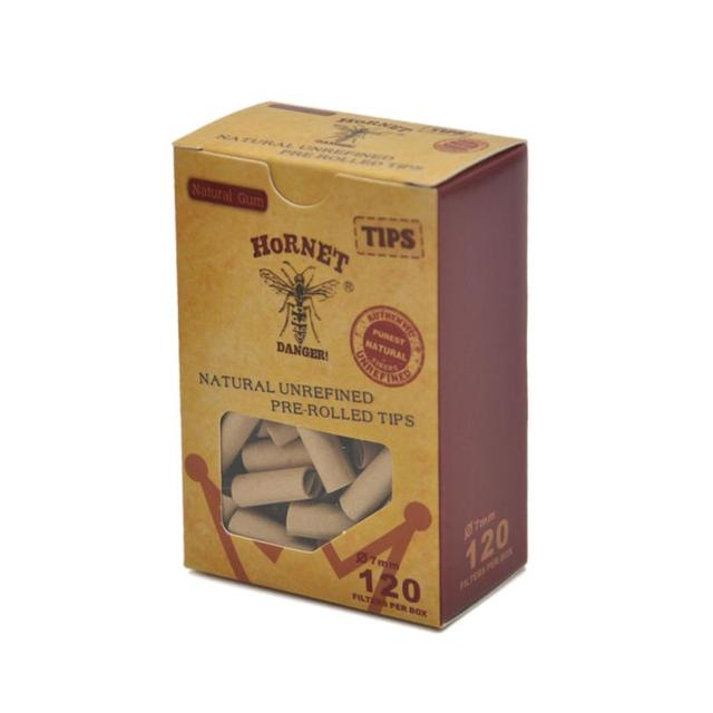 ISHOWTIENDA 120x Hornet Practical Pre Rolled Natural Unrefined Cigarette Filter Rolling Paper Tips 7MM Cigarette Paper