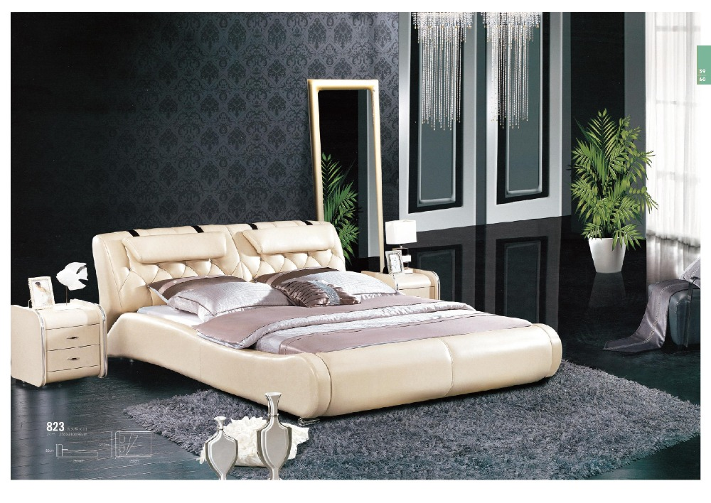3905e07785b1 Modern Luxury Royal French Style King Queen Size Cream White Leather ...