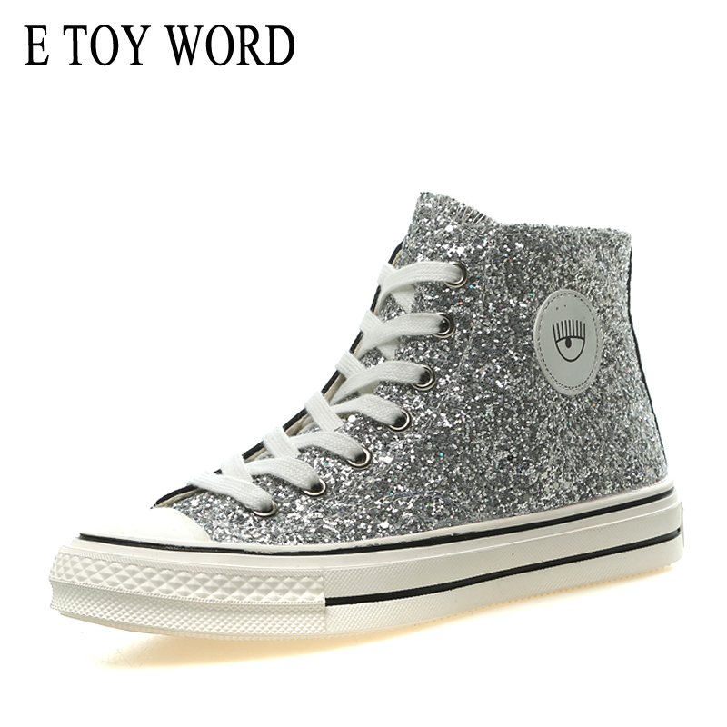 E TOY WORD Women Sneakers High-top Canvas Shoes Female 2019 New Fashion Sequins Lace Up Women Casual Shoes Walking Flat Shoes