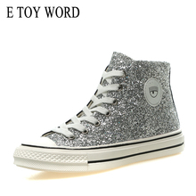 купить E TOY WORD Women Sneakers High-top Canvas Shoes Female 2019 New Fashion Sequins Lace Up Women casual shoes walking flat Shoes дешево