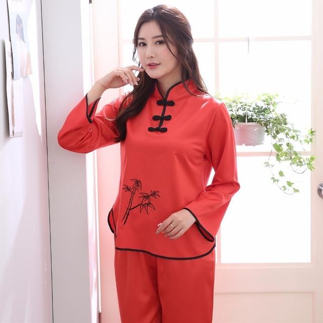 282ac28eb1ea Hat Sale Red Ladies Faux Silk Pajamas Set Chinese Traditional Button Pyjamas  Suit 2PC Shirt Pant Spring New Sleepwear M-XXL
