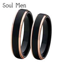 Soul Men 1 Pair 4mm Men's & Women's Black with Rose Gold Color Tungsten Couple Rings Set Wedding Band Comfort Fit
