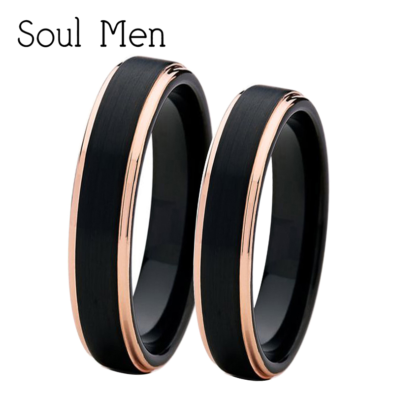 Soul Men 1 Pair 4mm Mens & Womens Black with Rose Gold Color Tungsten Couple Rings Set Wedding Band Comfort Fit
