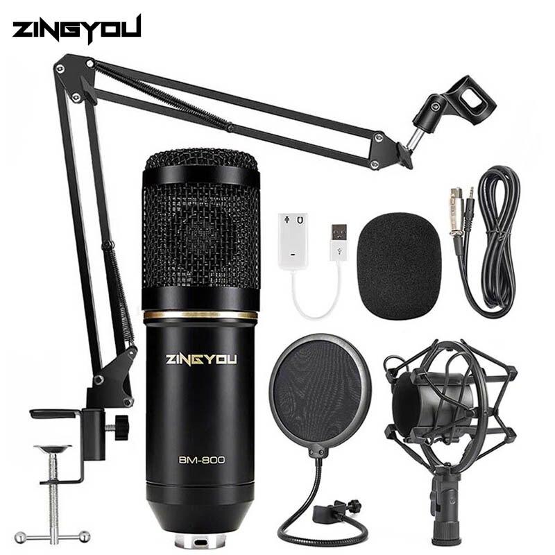 ZINGYOU BM 800 micro à condensateur karaoké Microphone filaire professionnel cardioïde jeu informatique micro Kit pour enregistrement Studio