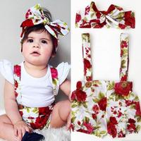 New Floral Pattern Cotton Baby Rompers Kawaii Baby Girl Overalls Floral Headband Overalls For Girls Infant
