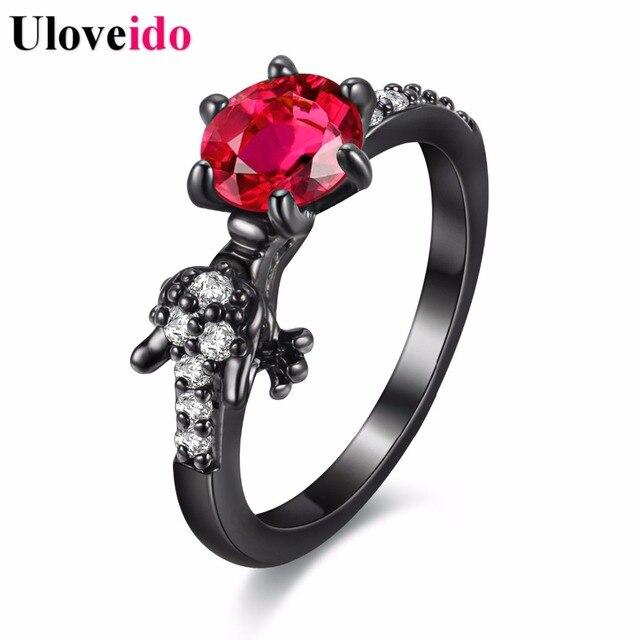 Uloveido moda anéis para as mulheres do partido anel de dragão negro com pedras Presentes para Meninas Animais Bague Anillos Mujer Femme Vermelho Y192