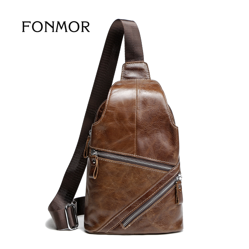 2017 Vintage Oil Wax Genuine Leather Men Shoulder Bags cross body Chest Bag High Quality