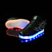2016 New Fashion Kids Sneakers LED Luminous USB Rechargeable Casual Shoes Wing Size 25 37 Colorful