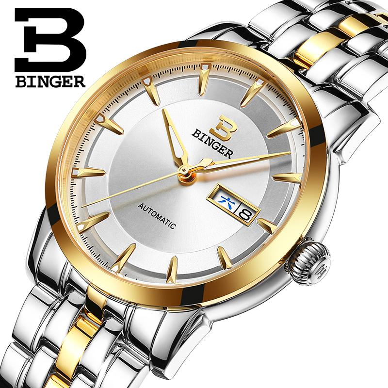 Wrist Sapphire Switzerland Men Watch Automatic Mechanical Binger Luxury Brand Reloj Hombre Men Watches Stainless Steel B-5067M original binger mans automatic mechanical wrist watch date display watch self wind steel with gold wheel watches new luxury