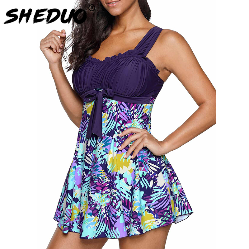 Plus Size Swimwear <font><b>2018</b></font> <font><b>Women</b></font> <font><b>Sexy</b></font> Ruffle <font><b>Swimsuit</b></font> Floral Print Tankini Padded Bathing Suit Dress Bikini Set Beachwear 5XL image