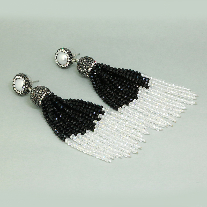 NEW Bohemia Clasic Black and White Beads 12 Rows Joint Combine Beaded Tassels Dangle Earrings For