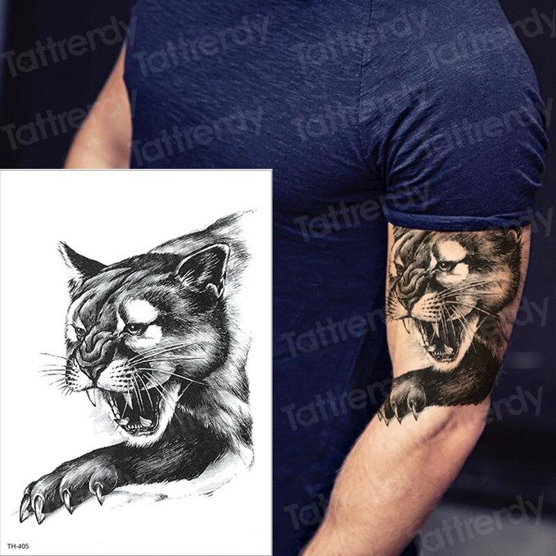 Men Tattoo Cat Tiger Wolf Tattoo Sleeve For Mens Boys Body