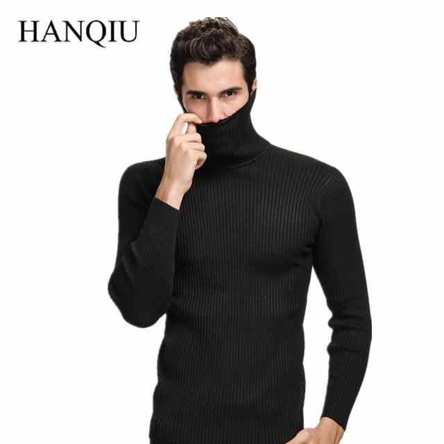 2018 de invierno gruesa lana suéter hombres cuello alto de Cachemira Punto  de Navidad suéter Slim 993d2fa6b1bf