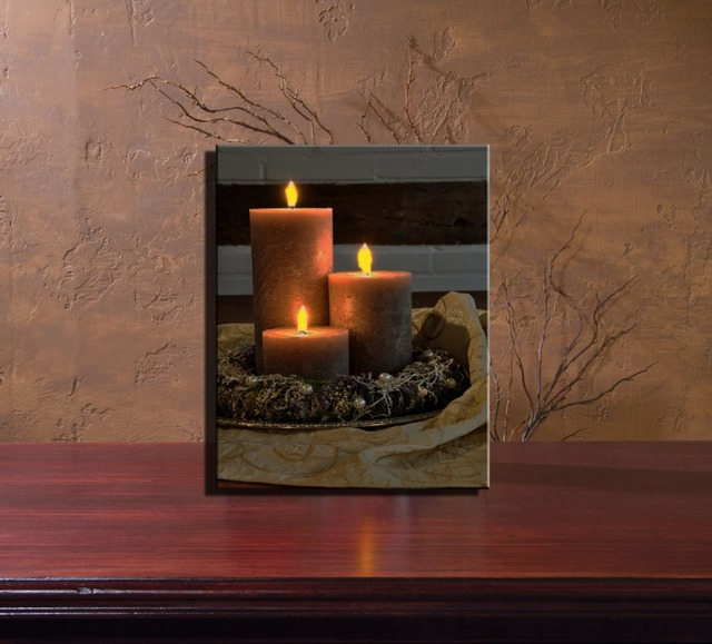 LED LIGHTED CANVAS Wall ART Interactive Candle With Garland Picture  Flicking Candle Painting Light Up For
