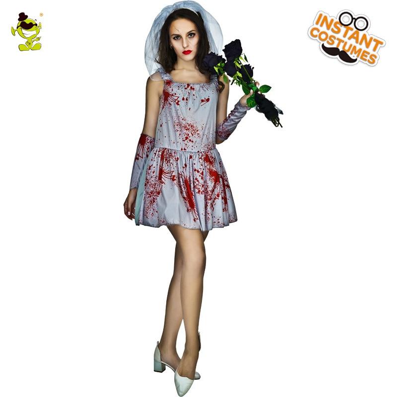 Adults Day Of Dead Skeleton Bridge Costume Carnival Halloween Party Cosplay Women Fancy Funky Punky Bone Costume Skeleton Dress