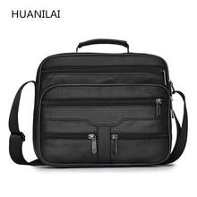 HUANILAI Mens Bags Genuine Leather Shoulder  Crossbody Retro Black High Capacity Handbags TY009