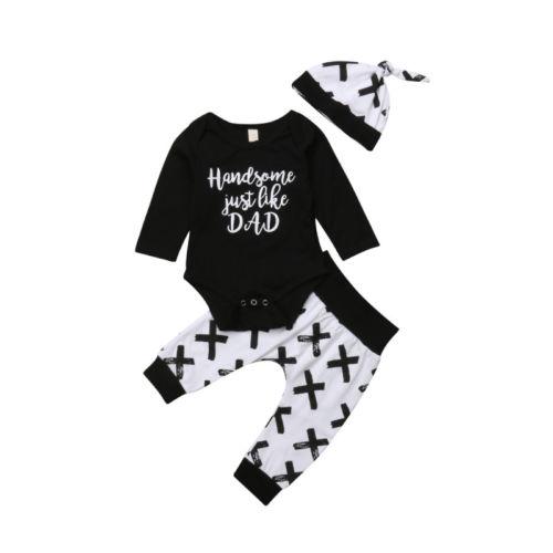3Pcs Newborn Kids Baby Boy Girl Cotton Tops Romper Pants Hat Outfits Set Clothes