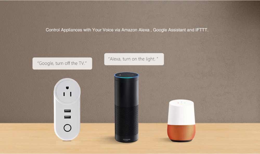 Lonsonho inteligentna wtyczka USB inteligentne gniazdo WiFi wylot ue usa, wielka brytania, francja, wtyczka współpracuje z Google Home Mini asystenta Alexa IFTTT eWeLink