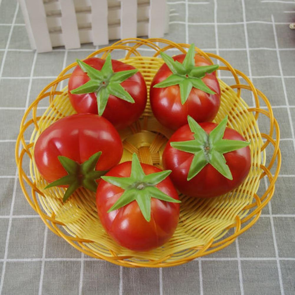 5pcs/set Lifelike Simulation Artificial Tomato Vegetables Plastic Fake Fruit Home Party Decor Photography Props Decorative Foam